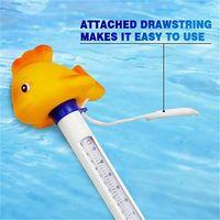Pratique Durable Cute Baby Cartoon Goldfish Thermometre Interieur Exterieur Flottant Avec Chaine Pour Piscine