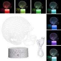 3D Casque 3D Night Light Led Lampe Illusion 3/7 Couleurs Lumieres Changeantes Table De Chevet Lampe De Bureau Avec Commande Pour Les Cadeaux Touching Enfants Decoration