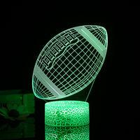 Rugby 3D Night Football 3D Light Led Lampe Illusion 3/7 Couleurs Lumieres Changeantes Table De Chevet Lampe De Bureau Avec Commande Pour Les Cadeaux Touching Enfants Decoration