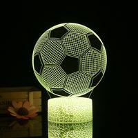 3D Football Night Light 3D Led Illusion Lampe 3/7 Couleurs Lumieres Changeantes Table De Chevet Lampe De Bureau Avec Commande Pour Les Cadeaux Touching Enfants Decoration
