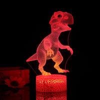 3D Dinosaur Night Light Led 3D Illusion Lampe 3/7 Couleurs Lumieres Changeantes Table De Chevet Lampe De Bureau Avec Commande Pour Les Cadeaux Touching Enfants Decoration