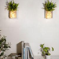 2Pcs Suspendu En Verre Mason Jars Led Guirlande Lumineuse Decoration Murale Plante En Plastique Decoratives Interieur De Lumieres, Type 2