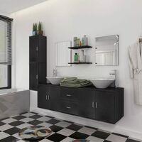 Meuble de salle de bain 11 pcs avec lavabo et robinet Noir