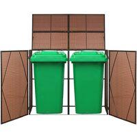 Abri pour poubelle double Marron 153x78x120 cm Resine tressee