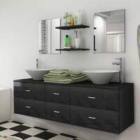 Neuf pieces pour salle de bains avec lavabo et robinet noir