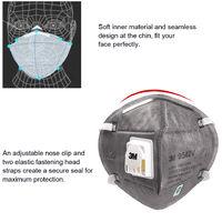 3M 9542V Kn95 Respirateur Avec Valve Actived Carbone Masque De Protection Masques De Securite Masque Anti-Poussiere Brouillard Haze Tete Monte Masque Visage Bouche