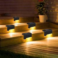 Jardin Exterieur Etanche Solaire Escalier Cloture Lumiere Chaude Route Lampe Goujon Pour Jardin Paysage Rue Pathway, Noir, 1Pc