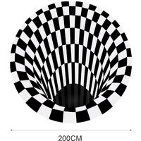 Imprime Mode 3D Tapis Pour Chambre Salon Bureau Non-Tisse Anti-Skid Zone Tapis De Sol Controles Noir Et Blanc Ronde Tapis, 200Cm