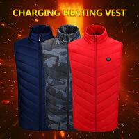 Gilet Chauffant Exterieur Usb Chargeant Des Vetements Chauffants En Fibre De Carbone, Rouge, Taille L