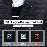 Vetements Rembourres En Coton Chauffants Electriques Intelligents Usb, 3 Elements Chauffants, Noir, Taille 3Xl