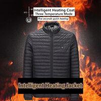 Vetements Rembourres En Coton Chauffants Electriques Intelligents Usb, 3 Elements Chauffants, Noir, Taille 2Xl