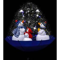 Arbre de Noel neigeux avec base de parapluie Bleu 75 cm PVC