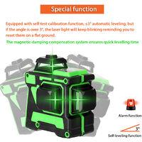 Multifonction Auto-Nivellement 3D 12 Lignes Laser Verticales Niveau Outil Lignes Horizontales Avec 1.5M 3 Hauteur Ajustable Bar Extension En Alliage Trepied, Sans Support Mural
