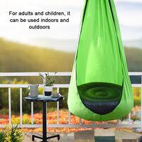 Chaise Suspendue Pour Enfants, Lit Balancoire Portable En Tissu Parachute, Chaise Hamac A Coussin D'Air, Vert Fonce