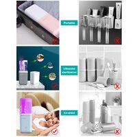 Portable Brosse A Dents Electrique Boite De Rangement Seche A L'Air Ultraiolet Sterilisation Voyage Brosse A Dents Boite De Rangement, Gris