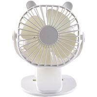 Clip Sur Ventilateur Bureau Usb Ventilateur Bureau Mini Ventilateur 3 Vitesses 360 Degre Angle Reglable Portable, Blanc