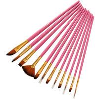 12Pcs Pinceaux Set Kit Artiste Paintbrush Multiples Mediums Brosses A Cheveux En Nylon Pour Artiste Acrylique Aquarelle Aquarelle Huile Gouache Peinture, Rose