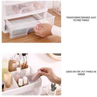 Boite De Rangement Tiroir Cosmetique Multi-Fonction Organisateur De Bureau Conteneur Porte-Bijoux Etui De Rangement, Transparent 1 Couche