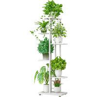 Presentoir A 6 Niveaux Pots De Fleurs Support De Plante Echelle De Rempotage Support De Jardiniere Support, Blanc