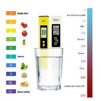 Ph Acidometre Detecteur Qualite De L'Eau Ph Prod Valeur De Test Ec & Tds Conductivity Qualite De L'Eau Pen Test, Blanc Et Jaune
