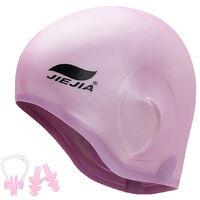 Bonnet De Bain Silicone, Protection Oreille 3D Bonnet De Bain Silicone + Pince Nez + Bouchons D'Oreilles, Rose