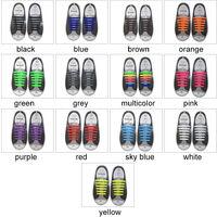 Chaussures De Sport Creatives Pour Enfants Lacets En Silicone Lacets Paresseux Avec Carton, Bleu 16Pcs