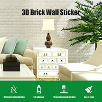 Autocollant Mural 3D Panneaux Muraux Auto-Adhesifs Mousse Impermeable Papier Peint Brique Stickers, Blanc