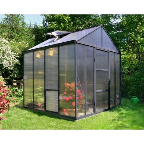 Serre de Jardin GLORY 8x8 gris anthracite - 5.6m²