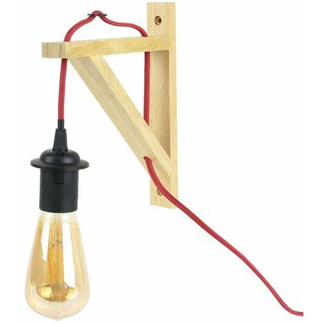 Lampe murale suspension bois naturel câble rouge - Noir