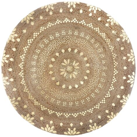 Tapis rond jute Gold Shine 115 cm - Beige