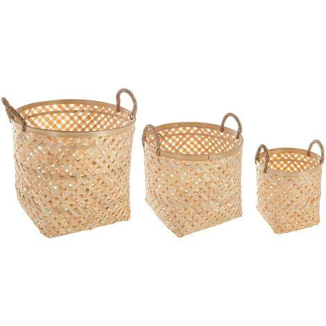 Lot de 3 paniers bambou naturel - Beige