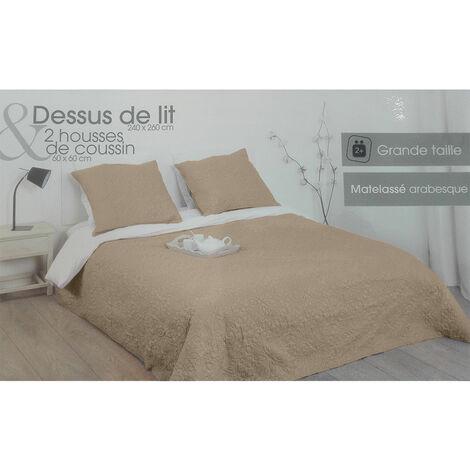 Dessus de lit 240 x 260 cm Arabesque Taupe + 2 taies - Marron
