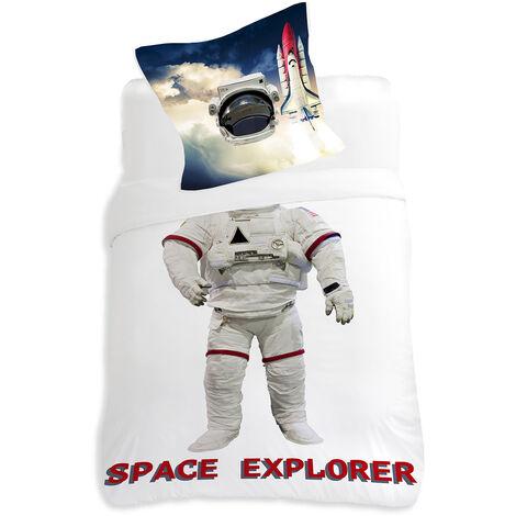 Housse de couette 140x200cm et une taie Cosmonaute - Blanc