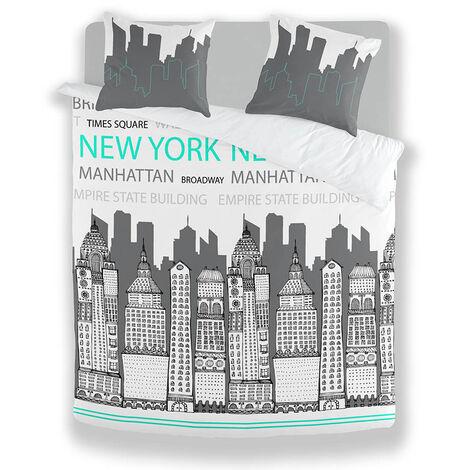 Housse de couette NY Image en flanelle 200x200cm + 2 taies - Gris
