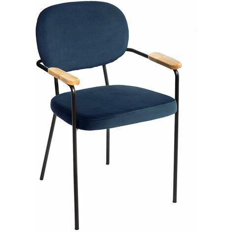 Chaise avec accoudoirs velours Talia bleu - Bleu