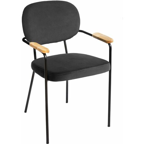 Chaise avec accoudoirs velours Talia gris - Gris
