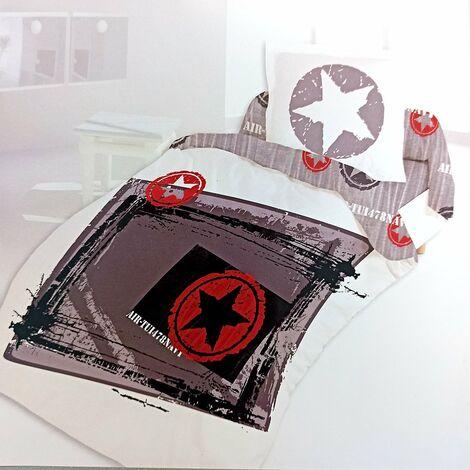 Housse de couette 140x200 cm et une taie Star coton - Gris