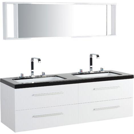 Meuble double vasque à tiroirs miroir inclus blanc MALAGA