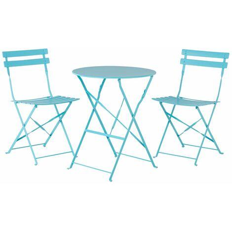 Salon de jardin bistrot table et 2 chaises en acier bleu FIORI
