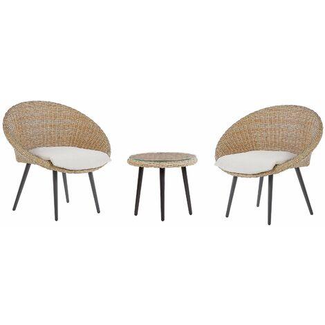 Salon de jardin bistrot table et 2 chaises beiges en rotin ORTIGIA