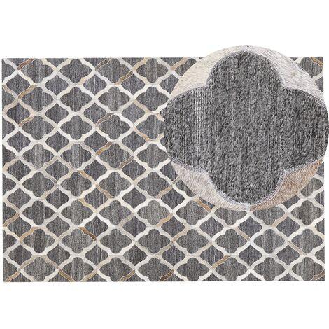Tapis en cuir et tissu gris et beige 160 x 230 cm ROLUNAY