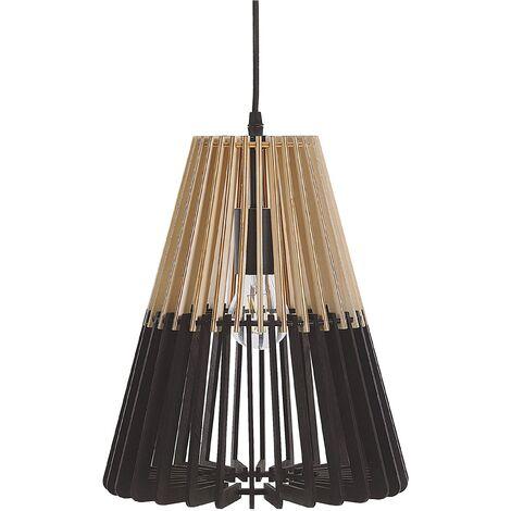 Lampe suspension en MDF noir et marron clair CAVALLA