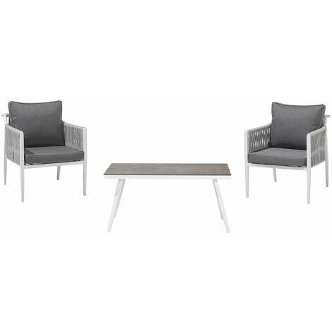 Salon de jardin 2 personnes en aluminium blanc coussins gris LATINA
