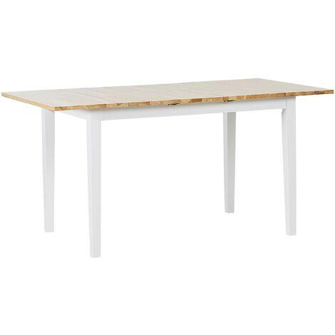 Table de salle à manger extensible en bois clair et blanc 120/150 x 80 cm HOUSTON