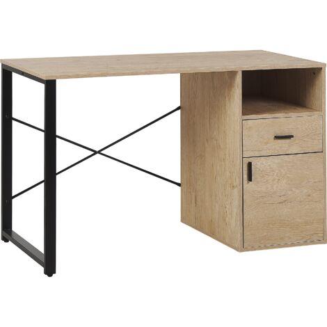 Bureau effet bois clair / noir 120 x 60 cm avec rangement HUSTON