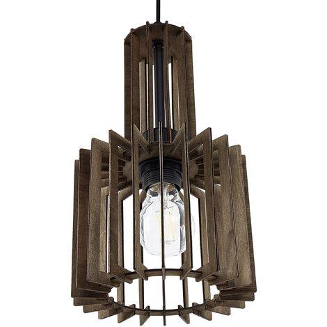 Lampe suspension effet bois foncé NIARI