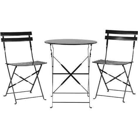 Salon de jardin bistrot table et 2 chaises en acier noir FIORI