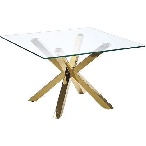 Table basse en verre avec pieds dorés 70 x 70 cm STARLIGHT
