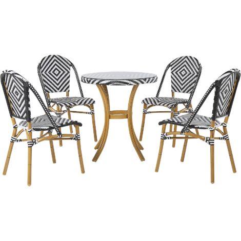 Salon de jardin table et 4 chaises noir / blanc RIFREDDO