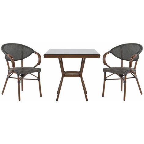 Salon de jardin bistrot table et 2 chaises gris / bois foncé CASPRI